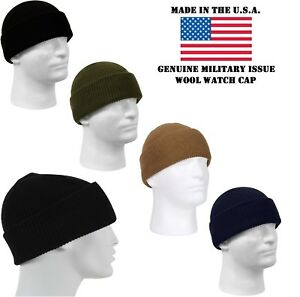 29e413348c2 Genuine Military Issue 100% Wool Watch Cap Beanie Cap Made In The ...