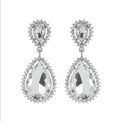 """Jewelry & Watches Capable Bridal Wedding Clear Rhinestone Dangle Chandelier 2 1/2"""" Inch Clip Earrings Bridal & Wedding Party Jewelry"""