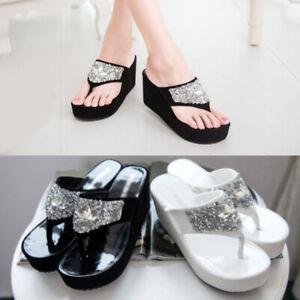 Bling Rhinestones Women/'s Flip Flops Wedge Heels Platform Thong Sandals Sz 34-47