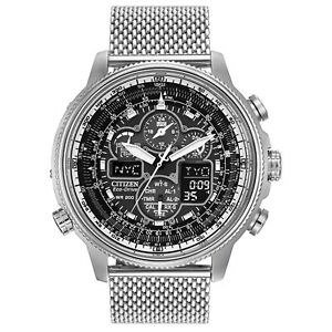 Citizen-Eco-Drive-Men-039-s-Navihawk-UTC-Chronograph-Mesh-48mm-Watch-JY8030-83E