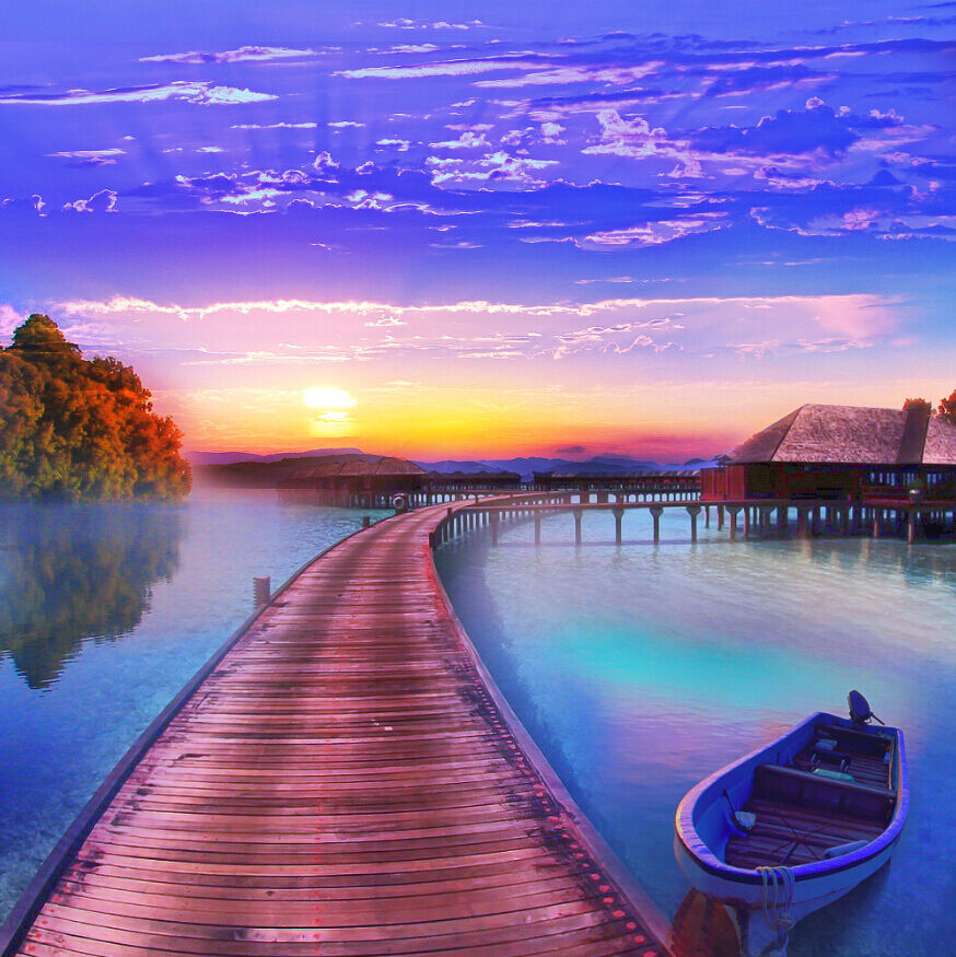3D Lake Sunset View 092 Wall Paper Wall Print Decal Wall Deco Wall Indoor Murals