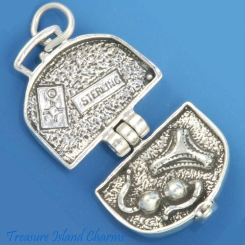 SUITCASE LUGGAGE TRAVEL BAG OPENS MOVABLE 3D .925 Solid Sterling Silver Charm