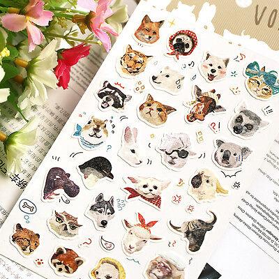 1 x sheet Animals Cat Dog Lion Tiger stickers scrapbook DIY #231