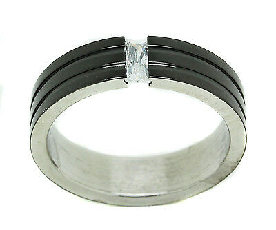 Mens Black Stainless Steel CZ Princess Rectangle Unique Ring Cubic Zirconia Band