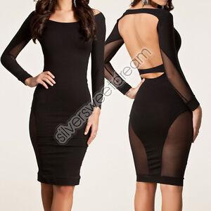 Vestito-SEXY-LONGUETTE-mini-abito-sera-vestitino-donna-TRASPARENTE-MUJER-WOMAN