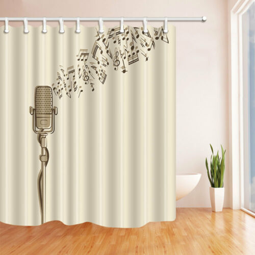 Microphone Music Decoration Waterproof Polyester Fabric Shower Curtains Bath Mat