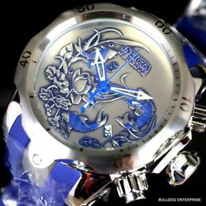 Invicta Reserve Venom Koi Fish Blue Silver Swiss Mvt Chronograph Watch 52mm New