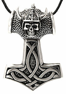 Thor Hammer Helmet Head Viking Silver 925 Band / Chain pendant No 153