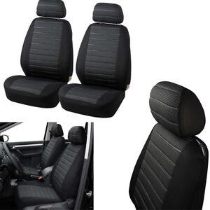 Car-2-Front-Seats-Cover-Set-Durable-Jacquard-Cloth-Black-Grey-Airbag-Compatible