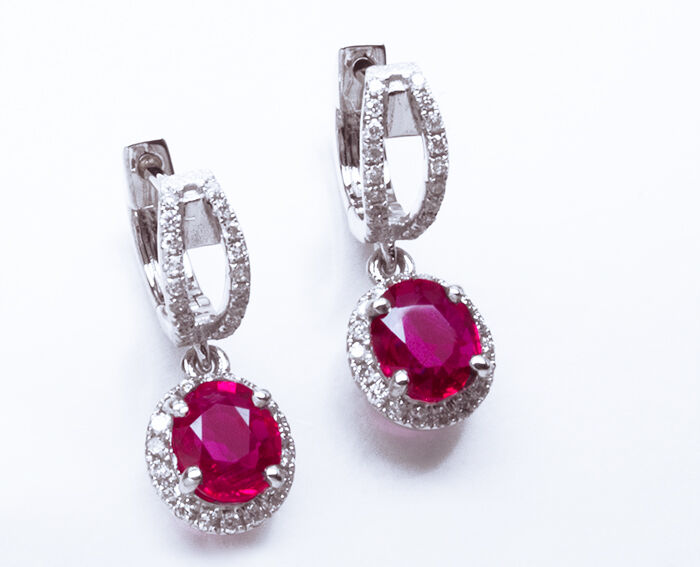 Gorgeous  11,225 2.00ctw 100% Natural No Heat Red Ruby & Diamond 14K WG Earrings