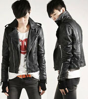 Free Shipping Men's Designed PU Leather Short Slim Fit Top Jacket Coat Outerwear
