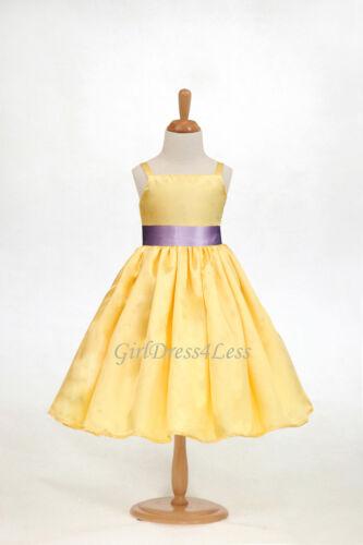 Yellow Belle Wedding Party Bridesmaids Flower Girl Dress 12M 18M 2 3//4 6 8 10 12