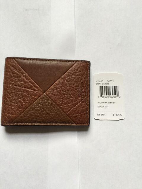 a2948352 Coach Slim Men's Billfold Wallet in Dark Saddle Patchwork Leather