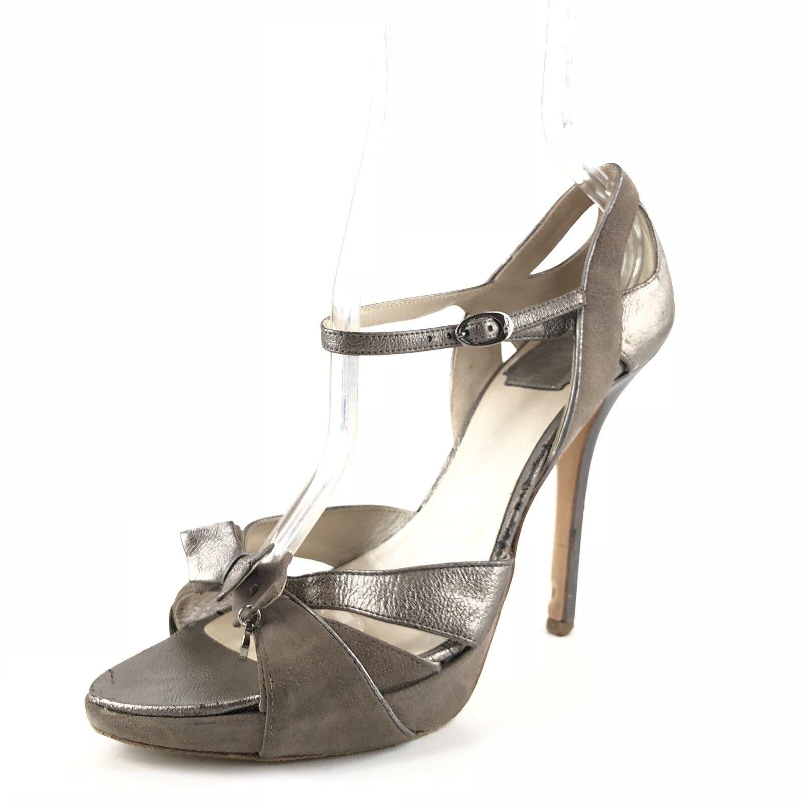 Christian Dior Platinum Leather Ankle Strap Platform Sandals Womens Size 37 M