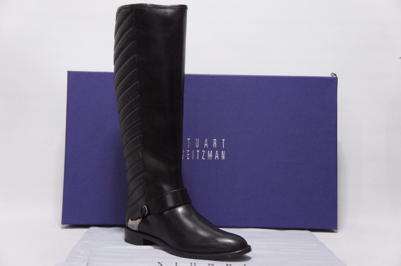 STUART WEITZMAN RACEWAY BLACK NAPPA LEATHER BOOTS SHOES 6 M