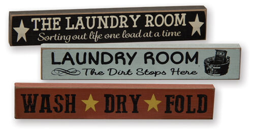 Wash Dry Fold The Dirt Stops Here Mini Signs The Laundry Room Set of 3