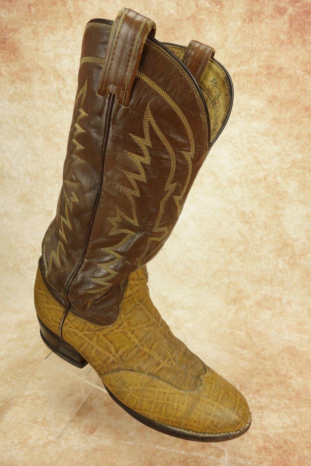 VTG Toney Lama Black Label Honey Brown Wingtip Elephant Print Cowboy Boots 9B