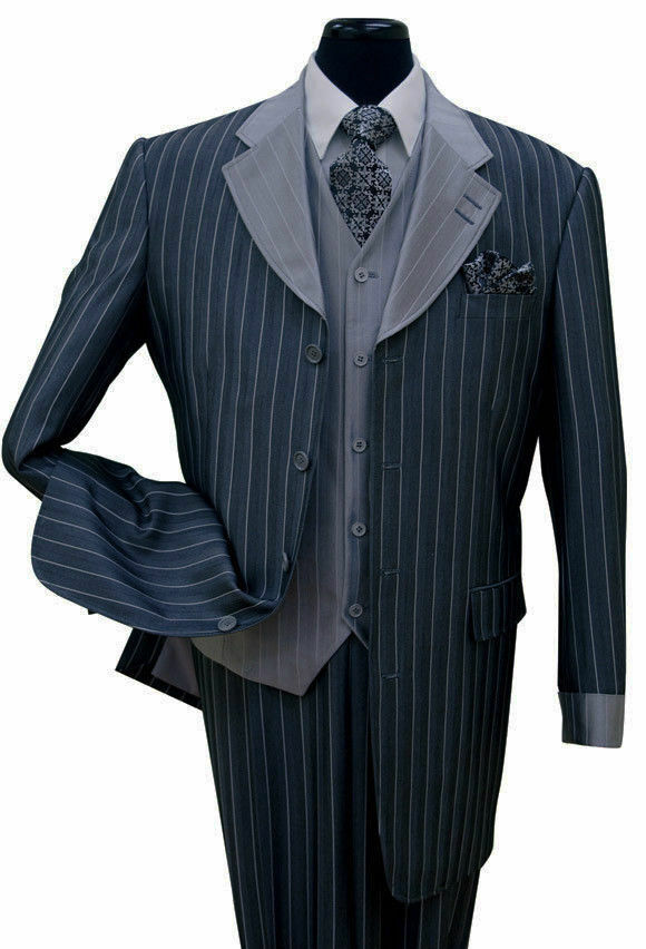 Men's 3 piece Luxurious Classic Gangster Pinstripe Wool Feel Suit sty-2911V Navy