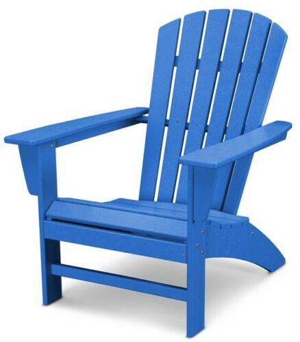 Patio Adirondack Chair Curve-Back Slate Polywood Outdoor w// UV Protection Blue