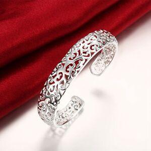 925-Sterling-Silver-Filled-13MM-Lovely-Filigree-Bracelet-Bangle-7-5-039-039