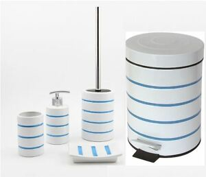 Image Is Loading Nautica Blue Stripe Bathroom Accessory Set Soap Dispenser