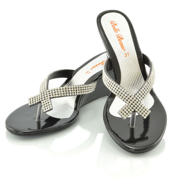 b606c81bd43 Womens Wedge Heel Flip Flops Sandals Diamante Sparkly Ladies Toe Post Shoes  3-9. Hover to zoom
