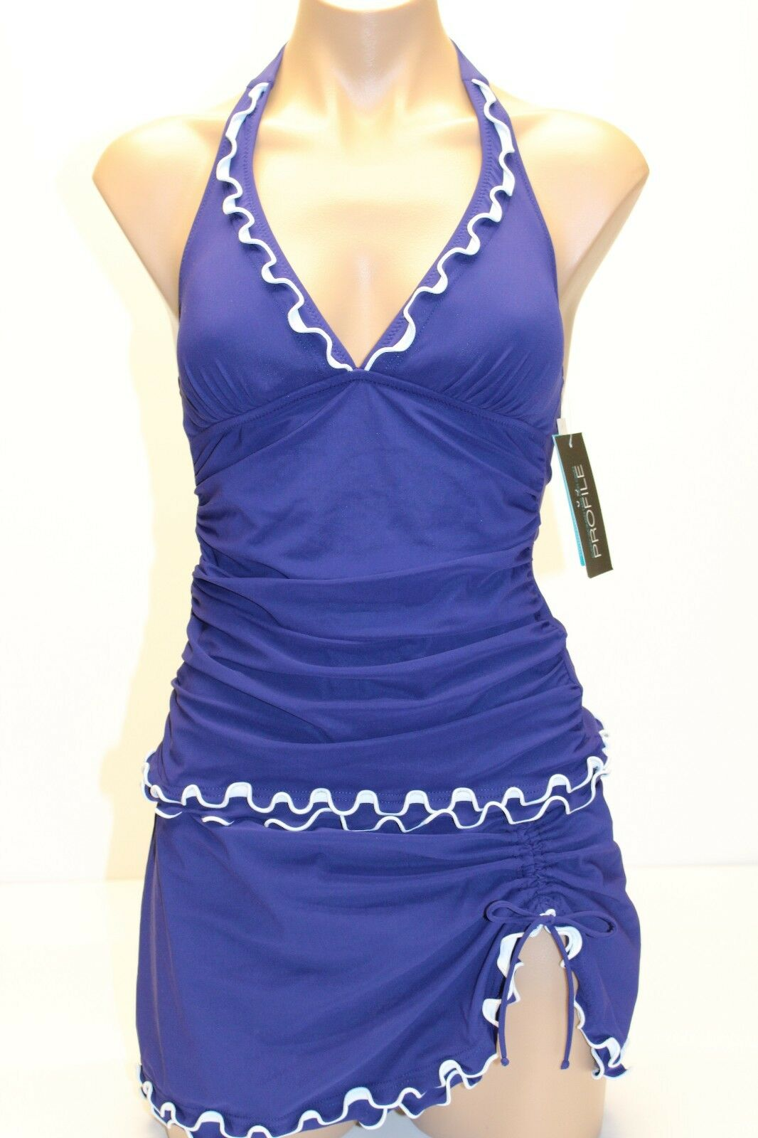 NWT Profile by Gottex Swimsuit Tankini 2pc Set bluee Ink Ruffled Halter Sz 6