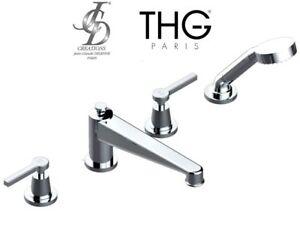 THG-G58-A02-00112BSG-Spirit-A-Manettes-rim-mounted-4-hole-bath-shower-mixer-NIB