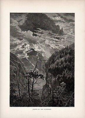 Stampa antica montagna Gole dello JUNGFRAU Berna Vallese Svizzera 1879 Old Print