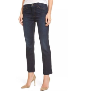 NWT HUDSON Tilda Mid-Rise Cigarette Slit Ankle Jeans Raw Hems Size 24 Electrify