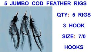 10 PACK JUMBO HOKKI COD RIGS 7//0 SEA FISHING ROD FEATHER LURES PIRKS