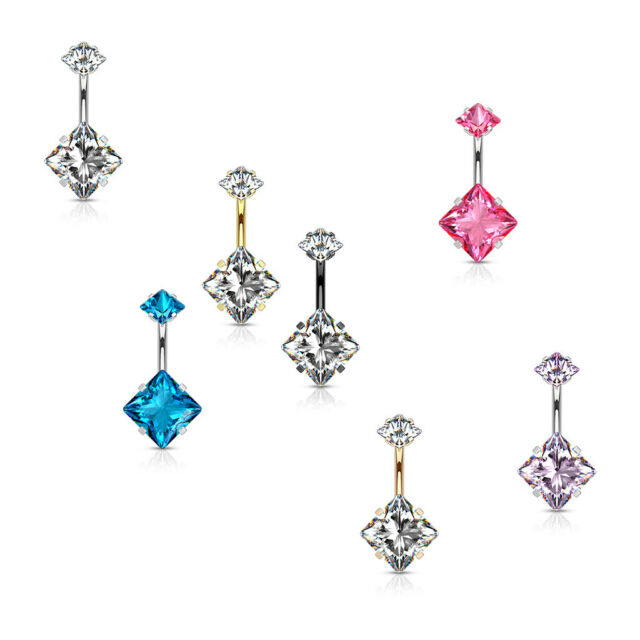 Crystal Star Set Surgical Steel CZ Navel Belly Button Rings