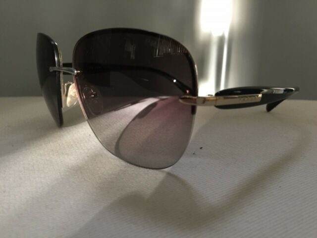 6d3a245f AUTHENTIC PRADA sunglasses SPR 50O Black Grey Silver Rimless Square Large  PR50S