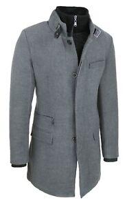 Detalles de Abrigo Hombre Sartorial Elegante Slim Fit Chaqueta Abrigo Gris con Chaleco