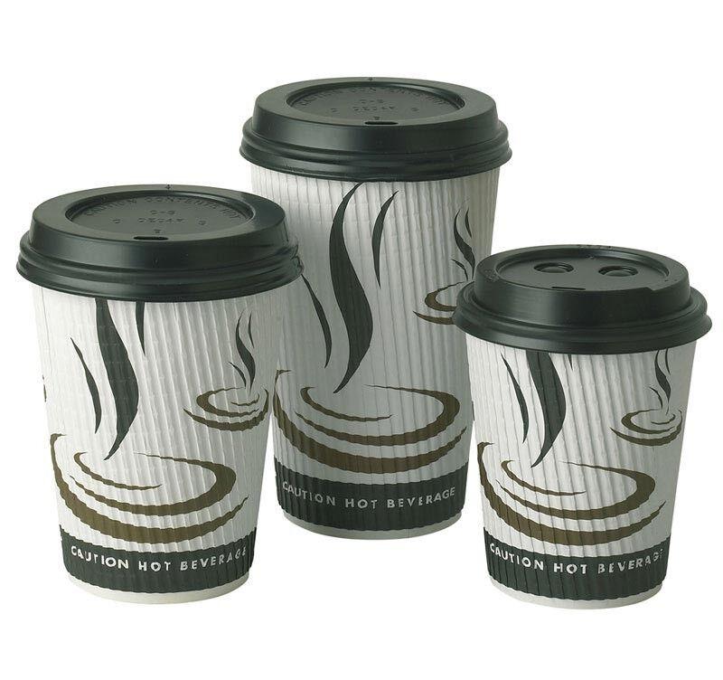 Bulk Case Disposable Paper Coffee Tea Cups Sip Lids 8oz 12oz 16oz Ripple Weave