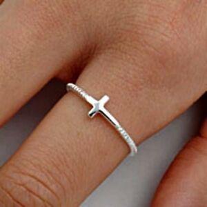 925-Sterling-Silver-Ring-Sideways-Cross-Christian-Midi-Ladies-size-2-12-New