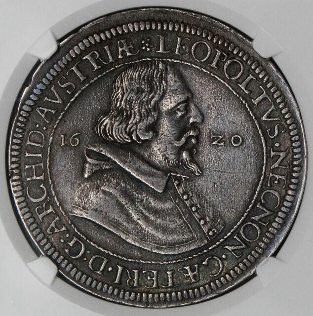 Austria Hall 1620 Leopold Silver Thaler NGC AU53
