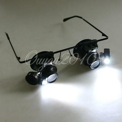 20X Magnifier Magnifying Eye Glasses Loupe Lens Jeweler Watch Repair LED Lighted