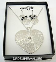 East5th Silver-tone Earring And Necklace Set S-010 Free Shipping