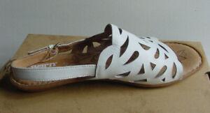Born-Women-039-s-Lili-Sandals-White-Flat-Leather-Slingback-Cut-Out-D20401-Sz-11-NIB