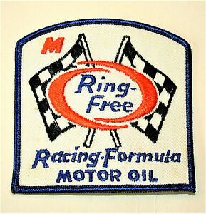 Vintage-1970s-Ring-Free-Racing-Formula-Motor-Oil-Race-Car-Cloth-Patch-New-NOS