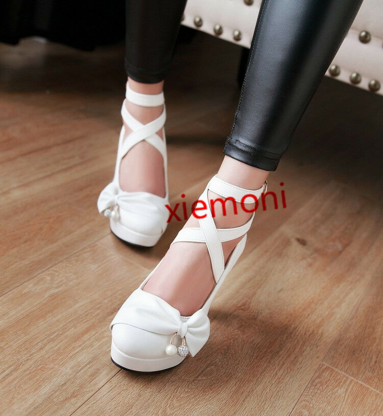 New New New Ladies Ankle Cross Strap Buckle High Block Heel Round Toe Dating shoes UK Sz 875b2f