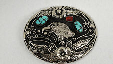 S.S.I 88, NATIVE AMERICAN BELT BUCKLE WITH TURQUOISE AND CORAL STONES NEW