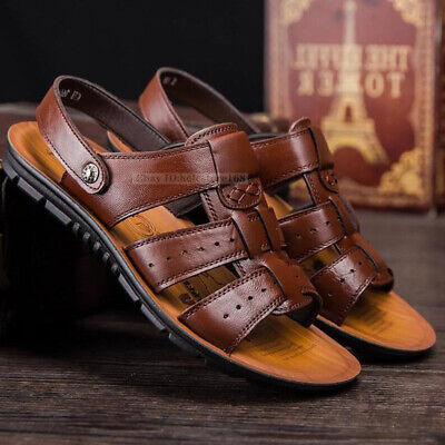 Men/'s Sandals Casual Summer Beach Sports Flats Leather Shoes Slipper Breathable
