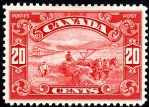 Canada King George V Scroll Issue - Harvesting Wheat - Scott 157 - MH VF