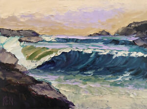 ROCK CURL ONE Original Expression Seascape Painting Pacific Ocean 12x16 080717