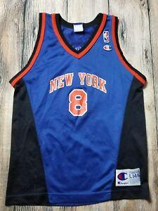 2dc7f0e8c74 NBA Youth New York Knicks Vintage Champion Blue Latrell Sprewell ...