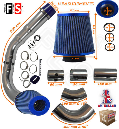 UNIVERSAL PERFORMANCE COLD AIR FEED PIPE AIR FILTER KIT BLUE 2103BF-BEE3