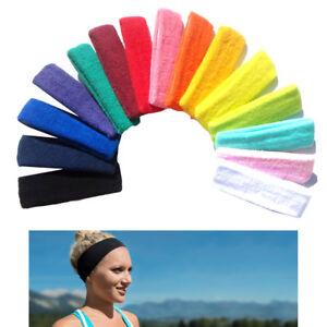 BL/_ Women Men Sports Sweatband Headband Yoga Gym Stretch Basketball Hair Ban GC