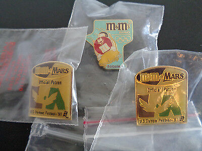 M & M MARS Olympic Festival Pin Lot + Bobsled Collectible Lot of 3 Pins